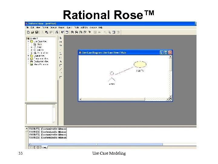 Rational Rose™ 33 Use Case Modeling