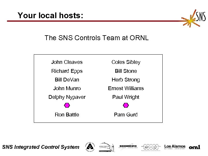 Your local hosts: The SNS Controls Team at ORNL John Cleaves Coles Sibley Richard