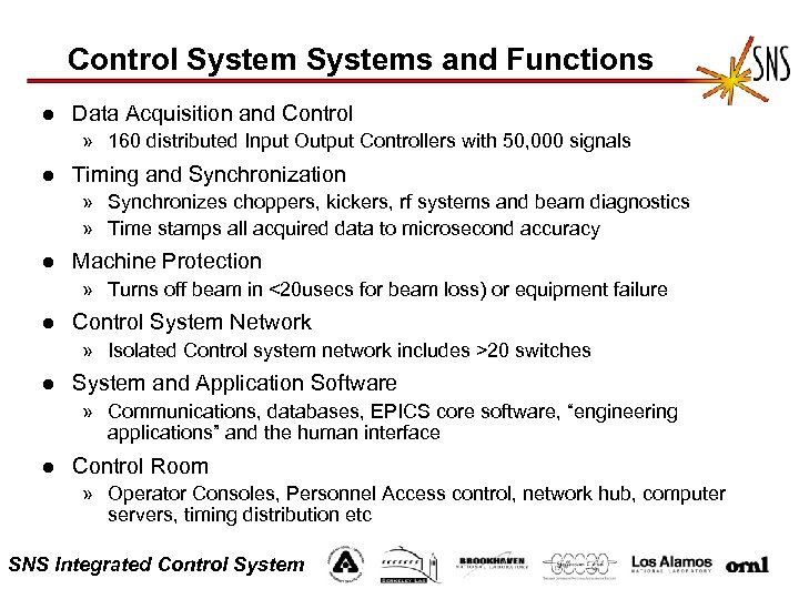 Control Systems and Functions l Data Acquisition and Control » 160 distributed Input Output