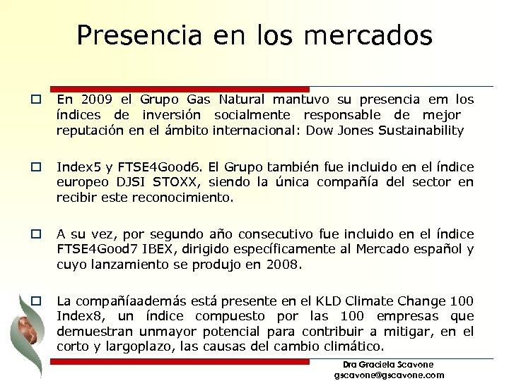 Presencia en los mercados o En 2009 el Grupo Gas Natural mantuvo su presencia