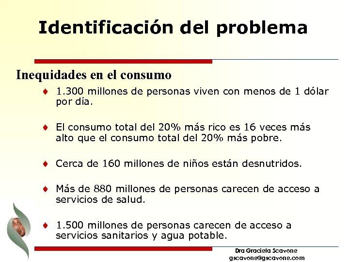 Identificación del problema Inequidades en el consumo ¨ 1. 300 millones de personas viven