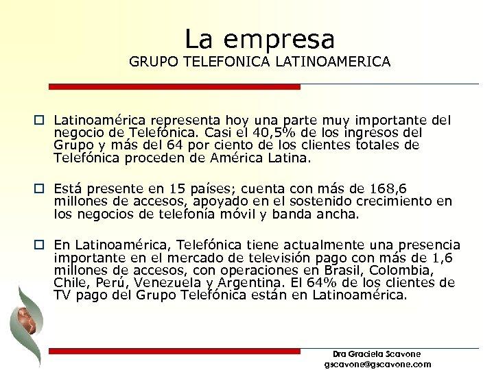 La empresa GRUPO TELEFONICA LATINOAMERICA o Latinoamérica representa hoy una parte muy importante del