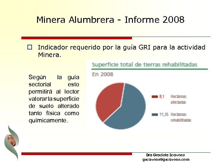 Minera Alumbrera - Informe 2008 o Indicador requerido por la guía GRI para la