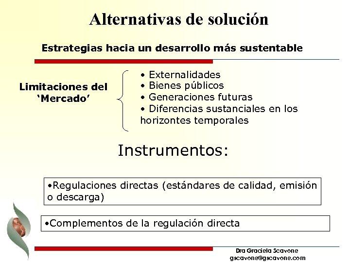 Alternativas de solución Estrategias hacia un desarrollo más sustentable Limitaciones del 'Mercado' • Externalidades