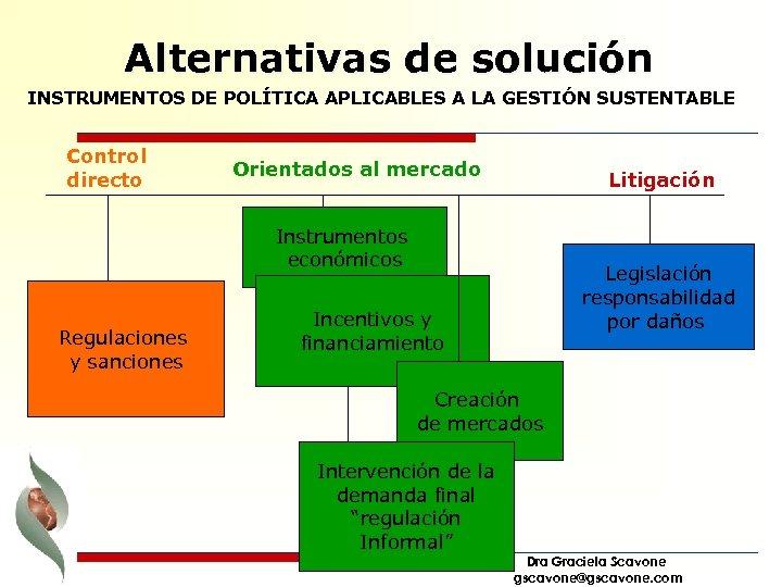 Alternativas de solución INSTRUMENTOS DE POLÍTICA APLICABLES A LA GESTIÓN SUSTENTABLE Control directo Orientados