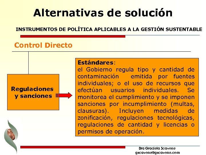 Alternativas de solución INSTRUMENTOS DE POLÍTICA APLICABLES A LA GESTIÓN SUSTENTABLE Control Directo Regulaciones