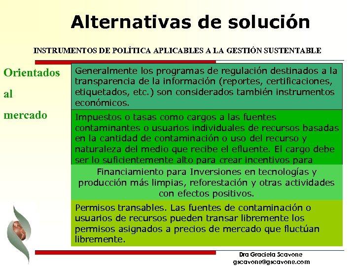 Alternativas de solución INSTRUMENTOS DE POLÍTICA APLICABLES A LA GESTIÓN SUSTENTABLE Orientados al mercado
