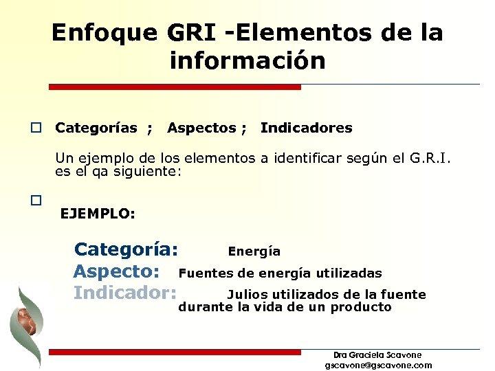 Enfoque GRI -Elementos de la información o Categorías ; Aspectos ; Indicadores Un ejemplo