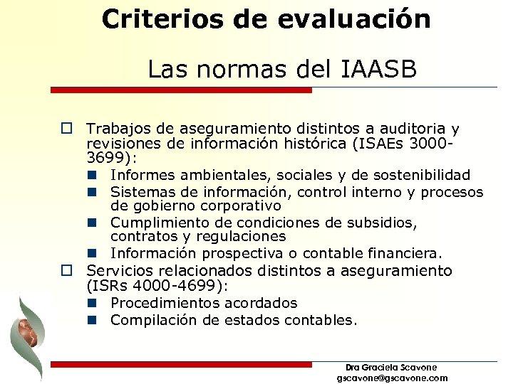 Criterios de evaluación Las normas del IAASB o Trabajos de aseguramiento distintos a auditoria