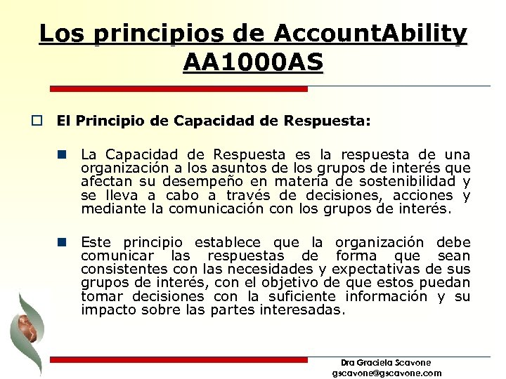 Los principios de Account. Ability AA 1000 AS o El Principio de Capacidad de