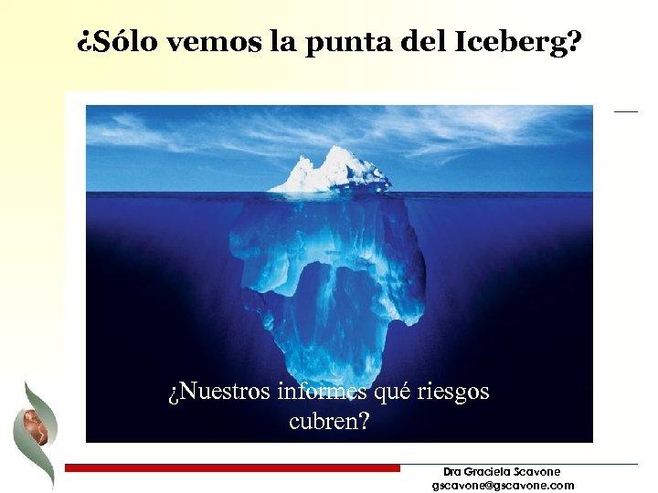 ¿Sólo vemos la punta del Iceberg? ¿Nuestros informes qué riesgos cubren? Dra Graciela Scavone