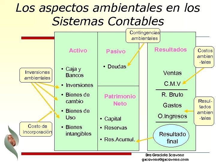 Los aspectos ambientales en los Sistemas Contables Contingencias ambientales Activo Inversiones ambientales • Caja