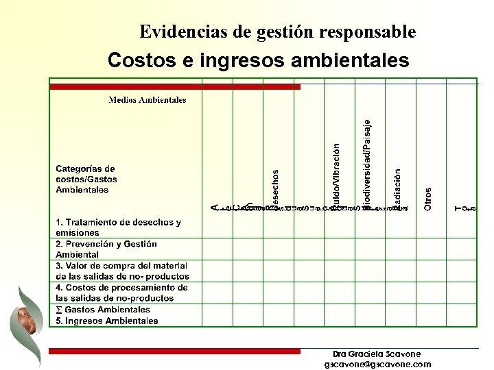 Evidencias de gestión responsable Costos e ingresos ambientales Dra Graciela Scavone gscavone@gscavone. com