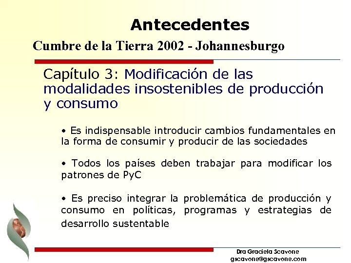 Antecedentes Cumbre de la Tierra 2002 - Johannesburgo Capítulo 3: Modificación de las modalidades