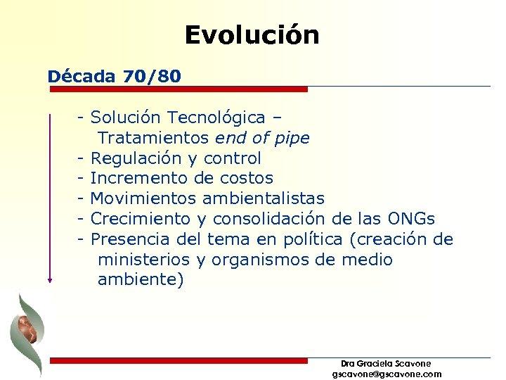 Evolución Década 70/80 - Solución Tecnológica – Tratamientos end of pipe - Regulación y
