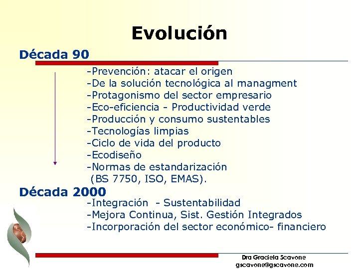 Evolución Década 90 -Prevención: atacar el origen -De la solución tecnológica al managment -Protagonismo