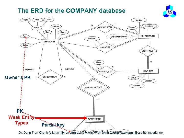 The ERD for the COMPANY database Owner's PK PK Weak Entity Types Partial key