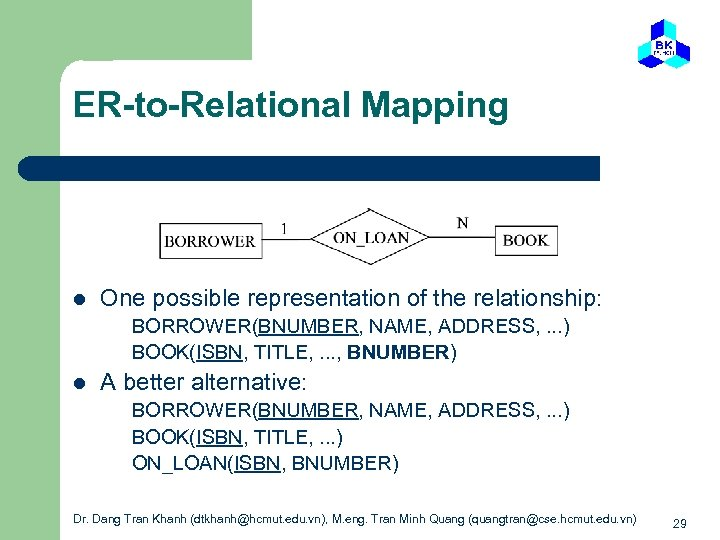 ER-to-Relational Mapping l One possible representation of the relationship: BORROWER(BNUMBER, NAME, ADDRESS, . .