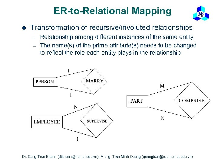 ER-to-Relational Mapping l Transformation of recursive/involuted relationships – – Relationship among different instances of