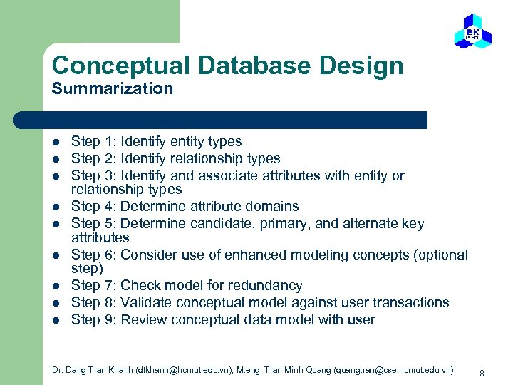 Conceptual Database Design Summarization l l l l l Step 1: Identify entity types
