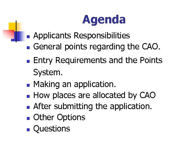 Agenda n n n n Applicants Responsibilities General points regarding the CAO. Entry Requirements