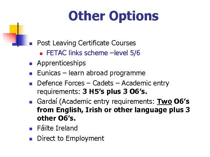 Other Options n n n n Post Leaving Certificate Courses n FETAC links scheme