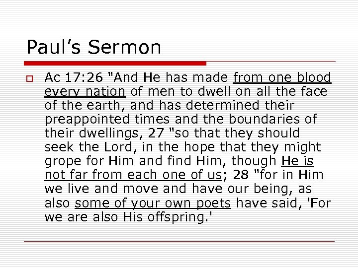 Paul's Sermon o Ac 17: 26