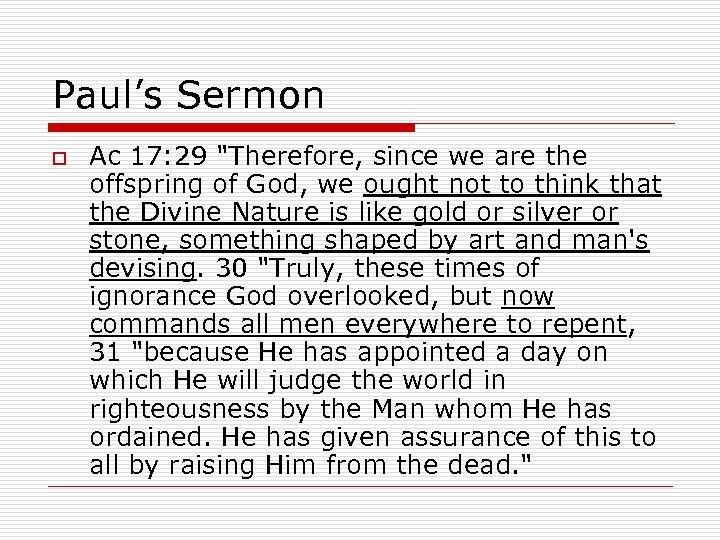 Paul's Sermon o Ac 17: 29