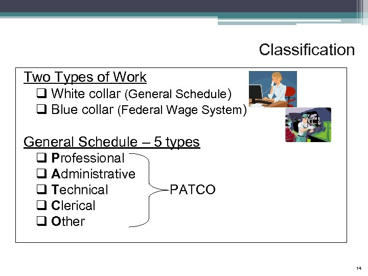 Classification Two Types of Work q White collar (General Schedule) q Blue collar (Federal