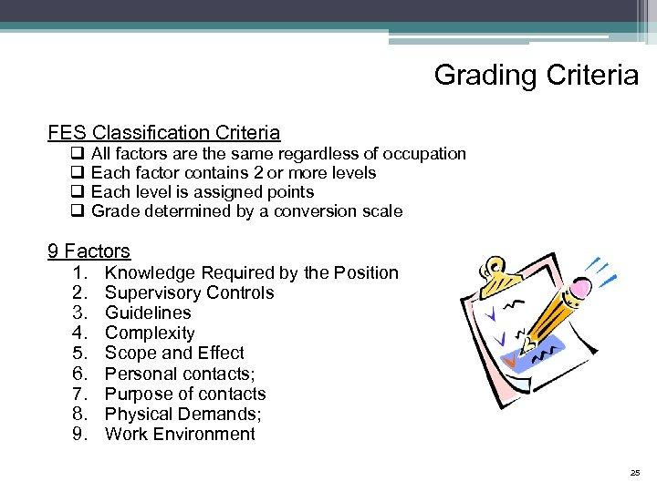Grading Criteria FES Classification Criteria q q All factors are the same regardless of