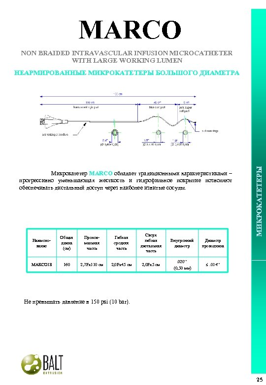 MARCO NON BRAIDED INTRAVASCULAR INFUSION MICROCATHETER WITH LARGE WORKING LUMEN Микрокатетер MARCO обладает традиционными