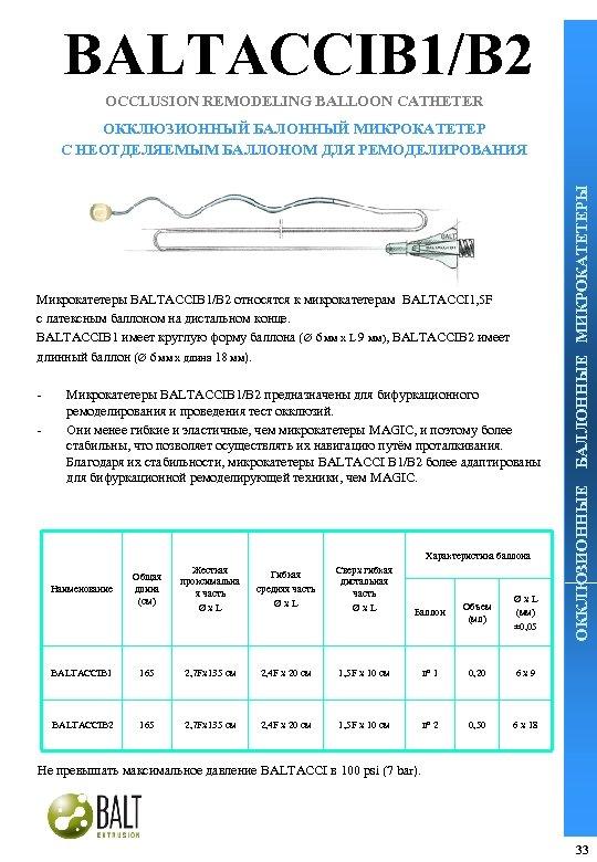 BALTACCIB 1/B 2 OCCLUSION REMODELING BALLOON CATHETER - Микрокатетеры BALTACCIB 1/B 2 предназначены для
