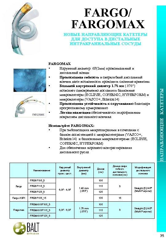 FARGO/ FARGOMAX • Наружный диаметр: 6 F(2 мм) проксимальный и дистальный концы • Превосходная