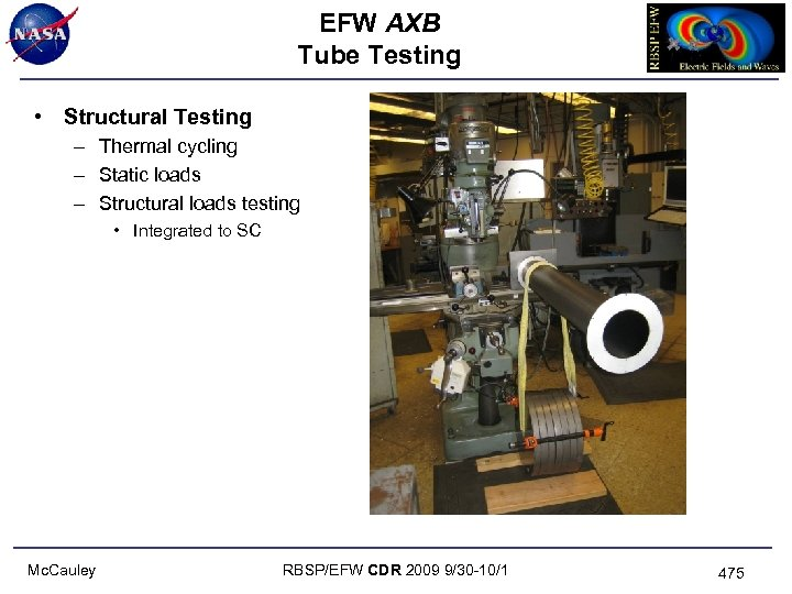EFW AXB Tube Testing • Structural Testing – Thermal cycling – Static loads –