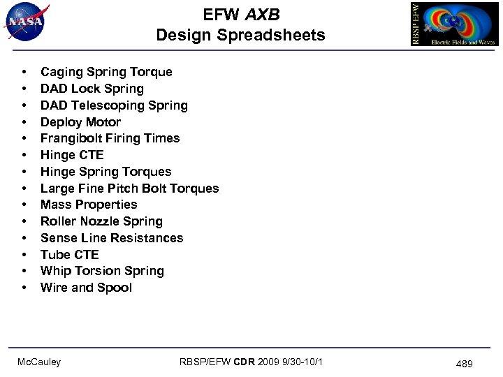 EFW AXB Design Spreadsheets • • • • Caging Spring Torque DAD Lock Spring