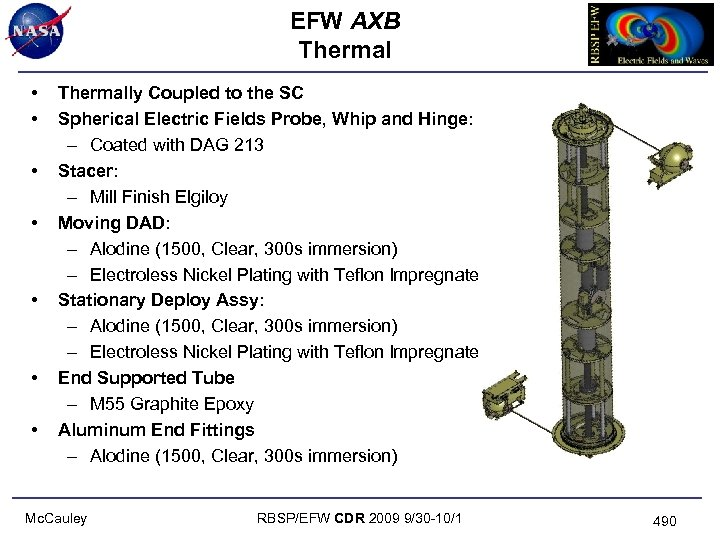 EFW AXB Thermal • • Thermally Coupled to the SC Spherical Electric Fields Probe,