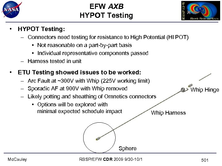 EFW AXB HYPOT Testing • HYPOT Testing: – Connectors need testing for resistance to