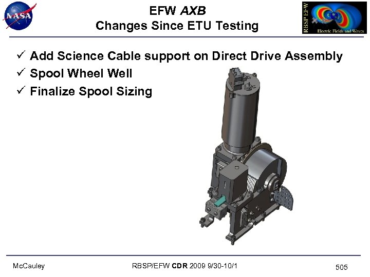 EFW AXB Changes Since ETU Testing ü Add Science Cable support on Direct Drive