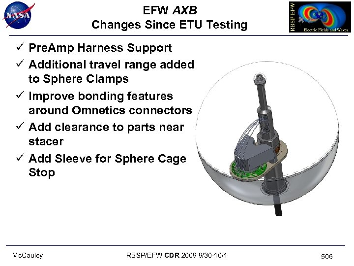 EFW AXB Changes Since ETU Testing ü Pre. Amp Harness Support ü Additional travel