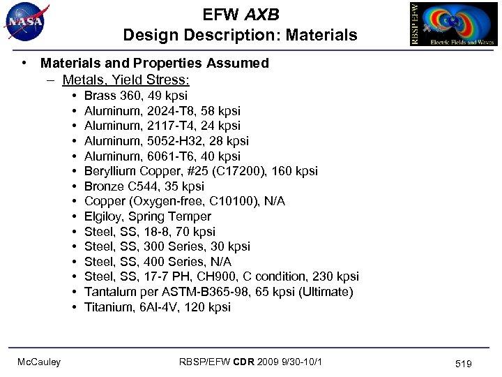 EFW AXB Design Description: Materials • Materials and Properties Assumed – Metals, Yield Stress: