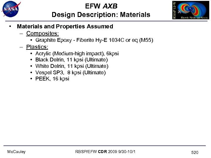 EFW AXB Design Description: Materials • Materials and Properties Assumed – Composites: • Graphite