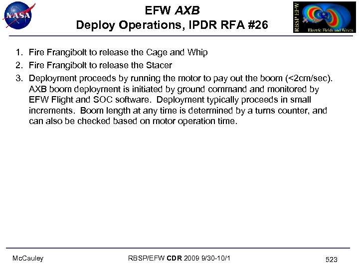 EFW AXB Deploy Operations, IPDR RFA #26 1. Fire Frangibolt to release the Cage