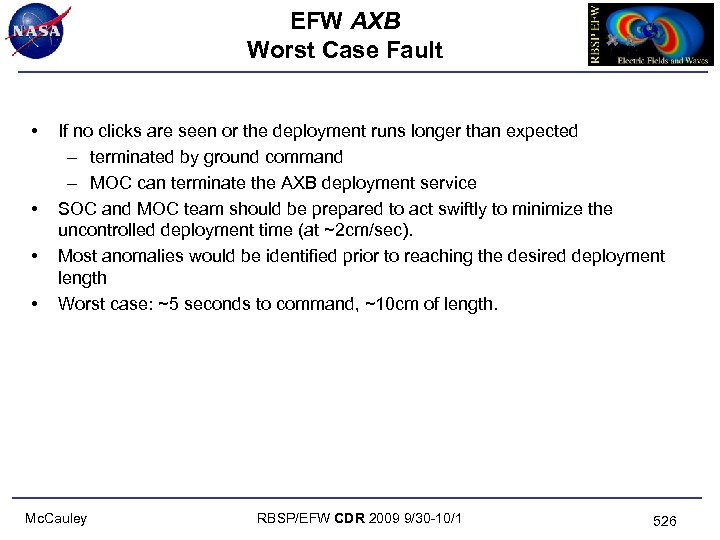 EFW AXB Worst Case Fault • • If no clicks are seen or the