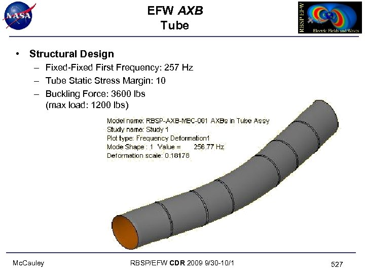 EFW AXB Tube • Structural Design – Fixed-Fixed First Frequency: 257 Hz – Tube