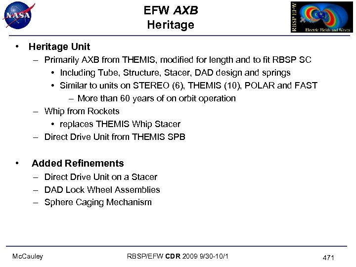 EFW AXB Heritage • Heritage Unit – Primarily AXB from THEMIS, modified for length