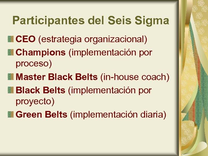 Participantes del Seis Sigma CEO (estrategia organizacional) Champions (implementación por proceso) Master Black Belts
