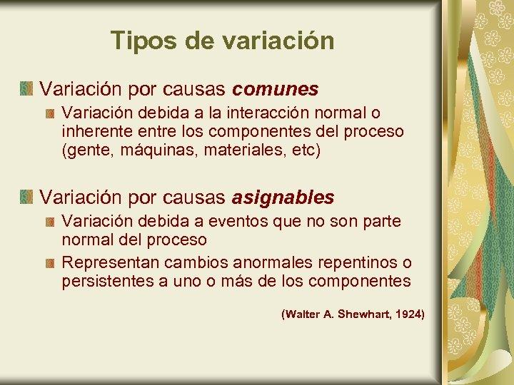 Tipos de variación Variación por causas comunes Variación debida a la interacción normal o
