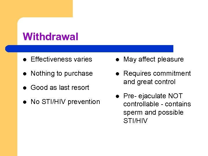 Withdrawal l Effectiveness varies l May affect pleasure l Nothing to purchase l l
