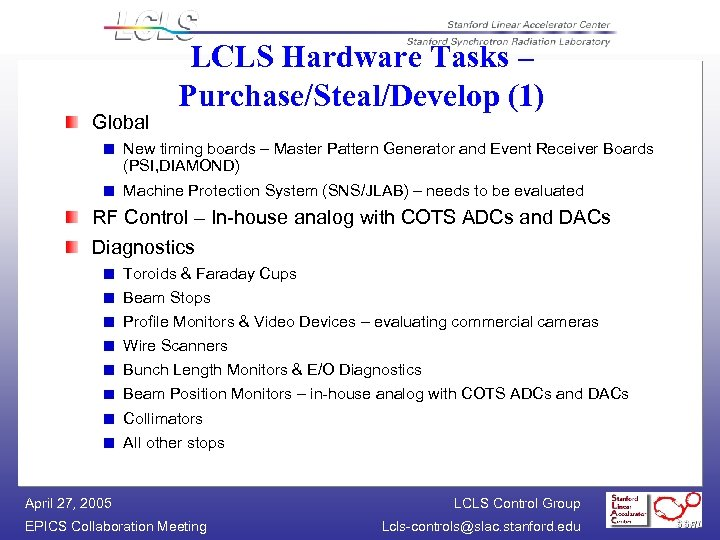 Global LCLS Hardware Tasks – Purchase/Steal/Develop (1) New timing boards – Master Pattern Generator