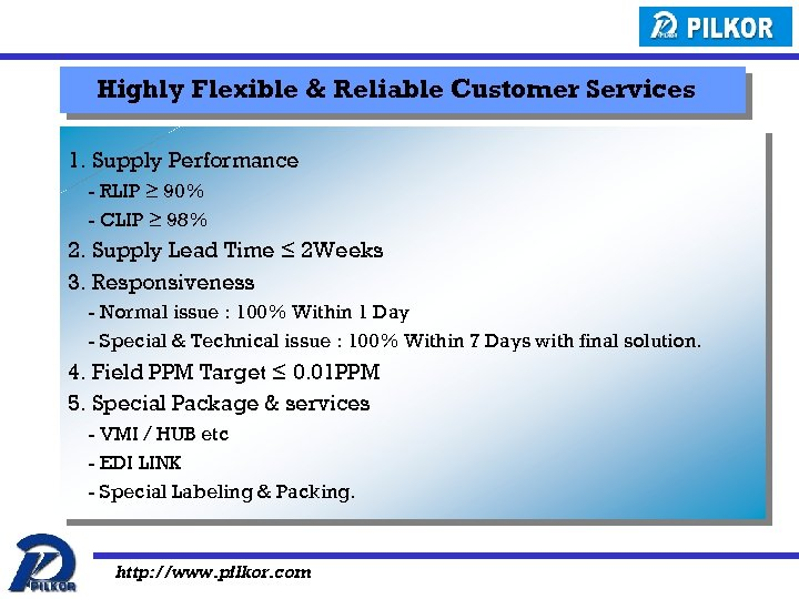 Highly Flexible & Reliable Customer Services 1. Supply Performance - RLIP ≥ 90% -